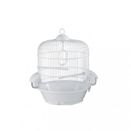 Jaula para pájaros pequeños y medianos redonda Voltrega 736 blanca